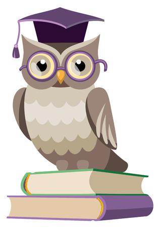 graduacion caricatura: lechuza en el casquillo del graduado en los libros Vectores