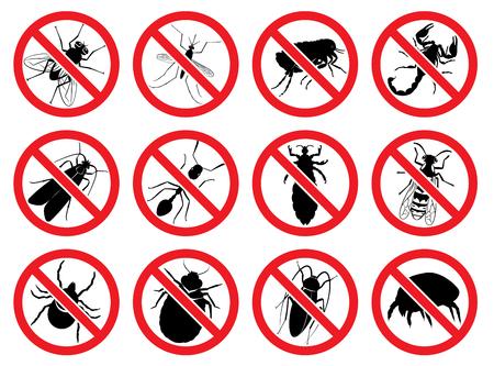 記号:Stopの蚊、ハエ、ハチ、ixodic チック、ベッドのバグ、蛾、ほこりダニ、ノミ、アリ、ゴキブリ、シラミ、サソリ