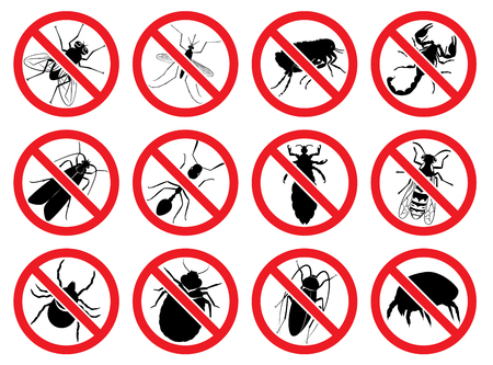 Set of signs: Stop for mosquito, fly, wasp, ixodic tick, bed bug, moth, dust tick, flea, ant, cockroach, louse, scorpion Illustration