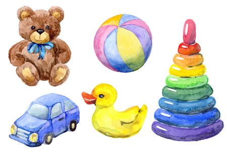 장난감의 수채화입니다. 손 테디 베어 그린, 자동차, 공, 피라미드, 오리 스톡 콘텐츠 - 59358957