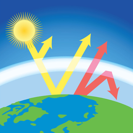 scheme of greenhouse effect - sunshine heat the Еarth Illustration