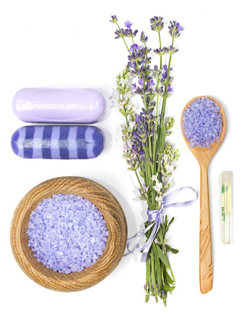 blue sea: lavender, sea salt, aromatic oil and soap for Spa and aromatherapy on a white background
