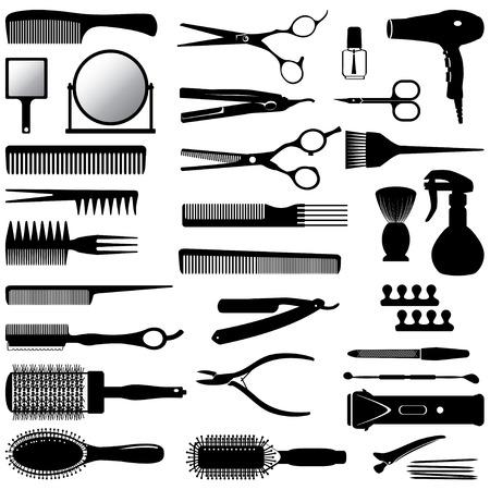 美容師のツールのシルエットのセット  イラスト・ベクター素材