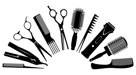 set of silhouettes of tools for the hairdresser Zdjęcie Seryjne - 64575465