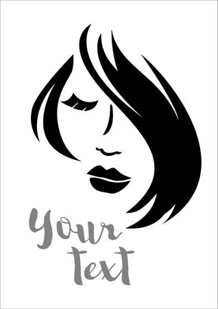 siluetas de mujeres: Vector silueta de la mujer con el peinado del cabello Vectores