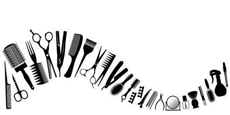 Wave from silhouettes of tools for the hairdresser. Vector illustration.