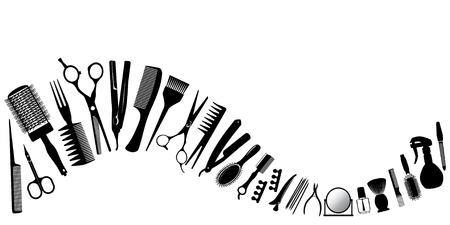 collection: Onda de siluetas de las herramientas para la peluquería. Ilustración del vector. Vectores