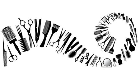 美容師のためのツールのシルエットからの波。ベクトルの図。  イラスト・ベクター素材