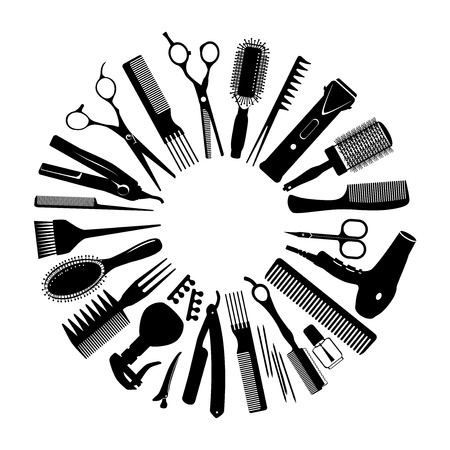 Set of silhouettes of tools for the hairdresser in a circle Çizim