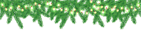 Vector Christmas tree border with glowing garland. Illustration