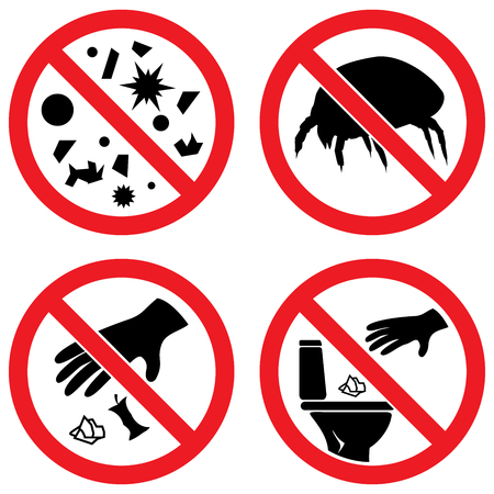 Set of vector signs:  Do not litter, Stop dust tick, Stop dust