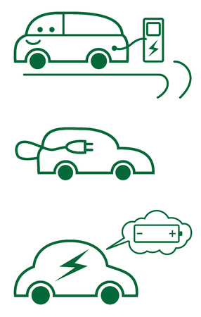 Electric car concept icons in line art style