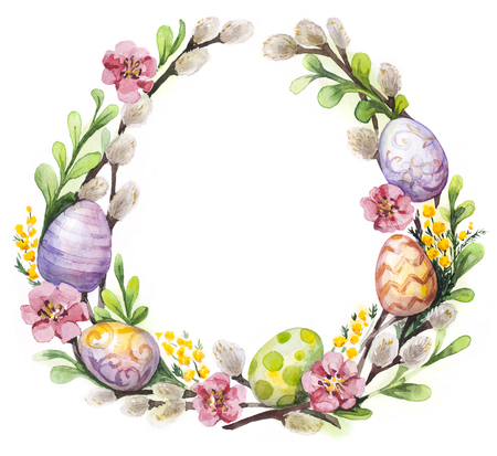 Watercolor Easter wreath with easter eggs and flowers