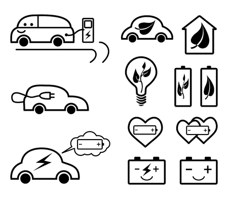 Set of ecology related outline vector icons.