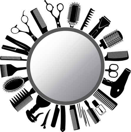 Vector silhouettes of the hairdressers tools and mirror