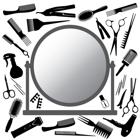 Vector silhouettes of the hairdressers tools  and mirror Illusztráció