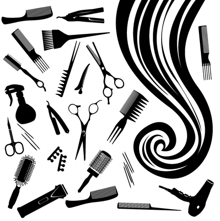 Ringlet of hair and the hairdressers tools - a vector illustration