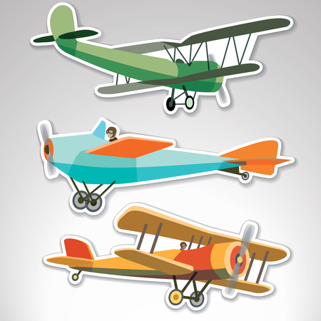 Set of vector  stickers with retroplanes