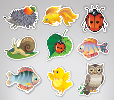 Set of vector stickers with cute animals