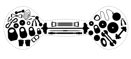 Set of silhouettes of the equipment for weightlifting in the form of a dumbbell