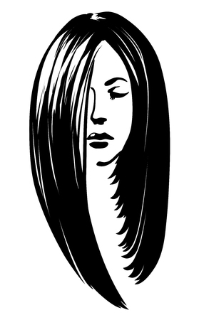 Vector woman silhouette with hair styling