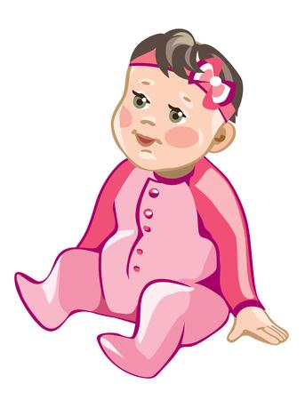 Cute baby girl - vector illustration