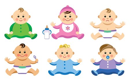 Vector illustration of babies in flat style