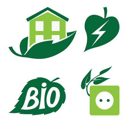 Set of eco icons with green leaf