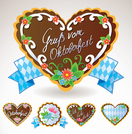 Oktoberfest souvenirs and symbols - gingerbread cookies Illustration