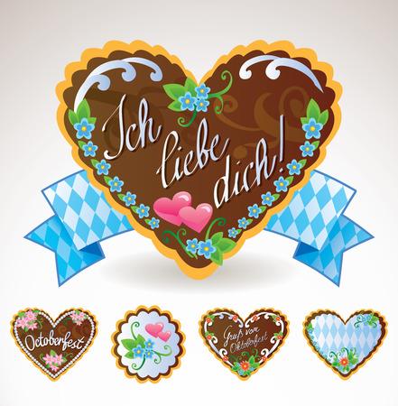 Oktoberfest souvenirs and symbols -  gingerbread cookies and pretzel