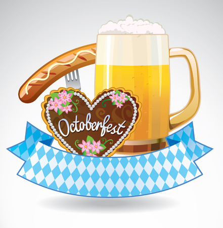 Vector emblem of Octoberfest with beer, sausage, gingerbread cookies and ribbon