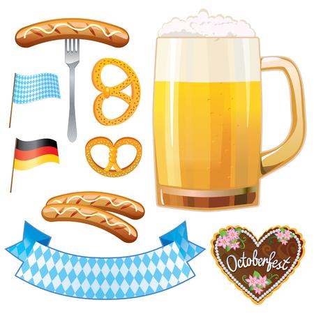 Oktoberfest symbols - beer, sausage, gingerbread cookies and pretzels, flag