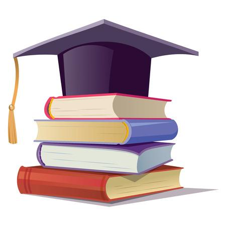 Vector graduation cap with books