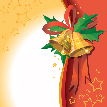 Christmas bells with ribbon on red background - vector illustration