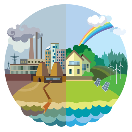 Ecology Concept Vector: urban and village landscape. Environmental pollution and environment protection