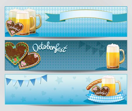 Vector baner with Oktoberfest symbols - beer, sausage, gingerbread cookies, flag, Illustration