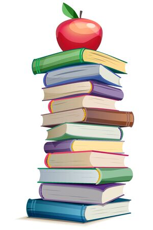 Bright stack of books with apple - vector illustration Ilustracja