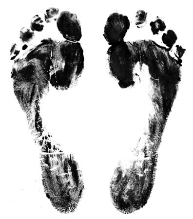 Foot prints on a white background