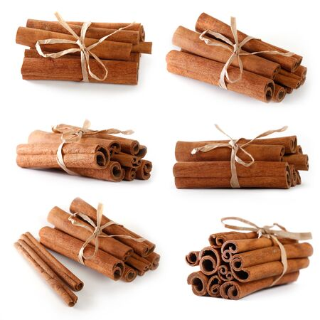 Set of cinnamon sticks  isolated on white background closeup