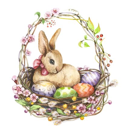 Easter rabbit and Easter eggs in a basket. Watercolor illustration isolated on a white background. Easter postcard.