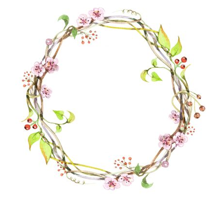 Spring flower wreath. Watercolor illustration, isolated on a white background