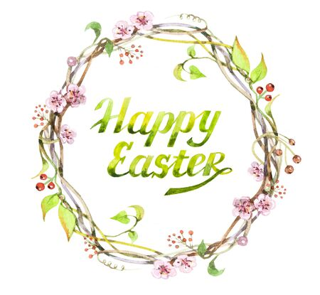 Easter flower wreath. Watercolor illustration isolated on a white background. Easter postcard. Stock Photo
