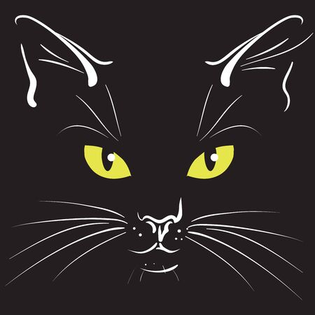 Yellow cats eyes a black background, vector illustration. Illustration