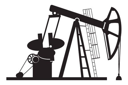 Oil derrick pump silhouette - vector illustration Illustration