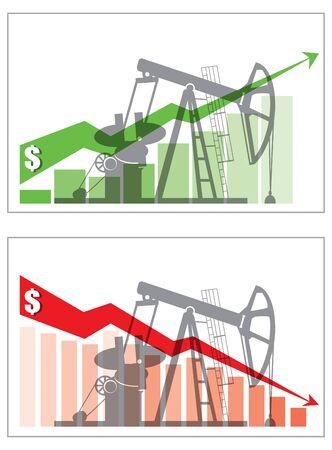 Oil derrick and graph, oil price change concept. Vector illustration Illustration