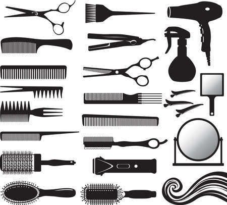 Hairdressers tools silhouettes - vector illustration