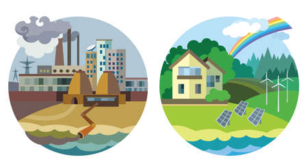 Flat design vector concept illustration: urban and village landscape. Environmental pollution and environment protection.