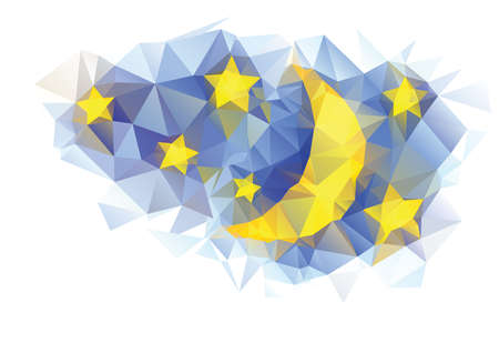vector blue polygonal background with moon and stars Illustration