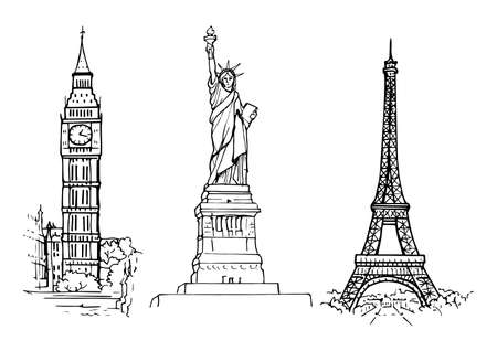 Hand-drawn sketch of sights: Statue of Liberty, Eiffel Tower and Big Ben Illustration