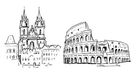 Hand-drawn sketch of sights (landmarks): Church of Mother of God before Týn (Church of Our Lady before Týn) in Prague andColiseum (Colosseum, Flavian Amphitheatre) in Rome.
